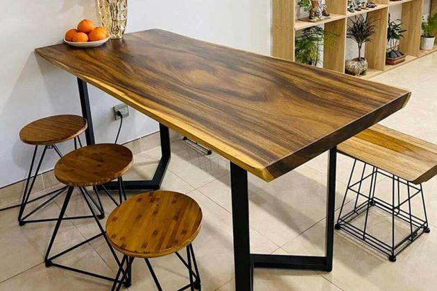 bàn ăn chân sắt mặt gỗ thanh lịch