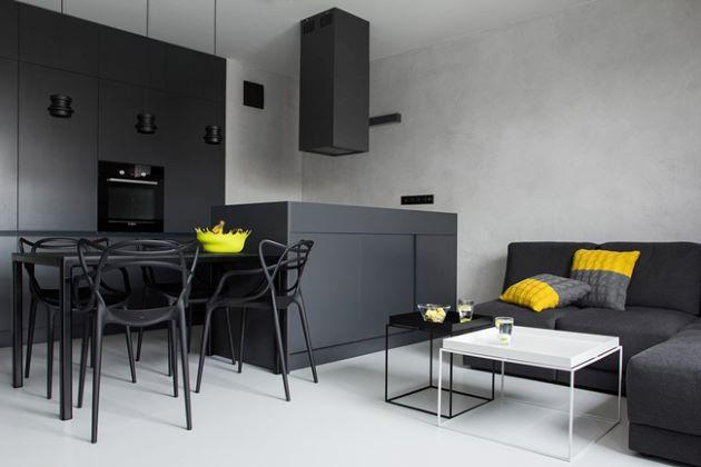 cách trang trí nhà bằng nội thất trắng đen